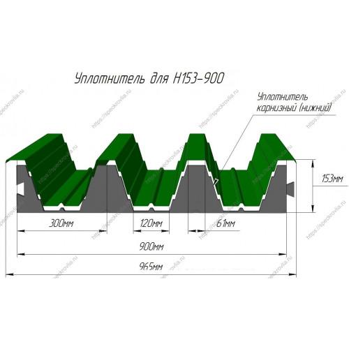 Уплотнитель для профнастила Н153-900 нижний