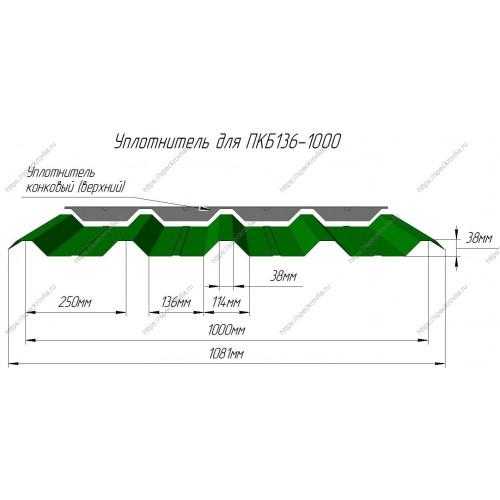 Уплотнитель для сэндвич-панелей ПКБ136 верхний