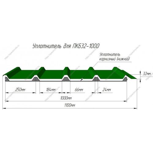 Уплотнитель для сэндвич-панелей ПКБ40 х 1000 или ПКБ154 нижний