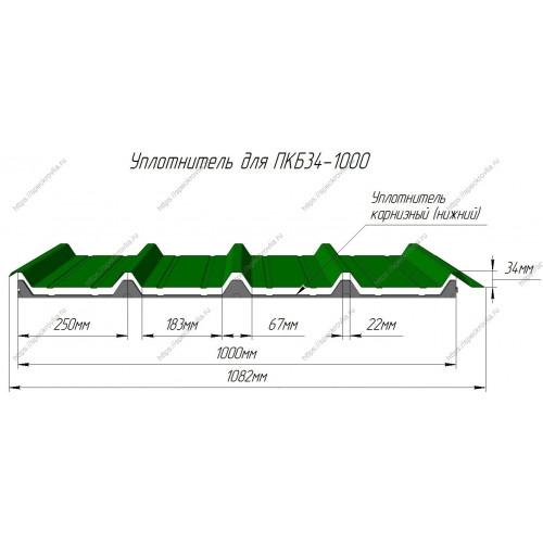 Уплотнитель для сэндвич-панелей НП 32 (или ПКБ34) нижний
