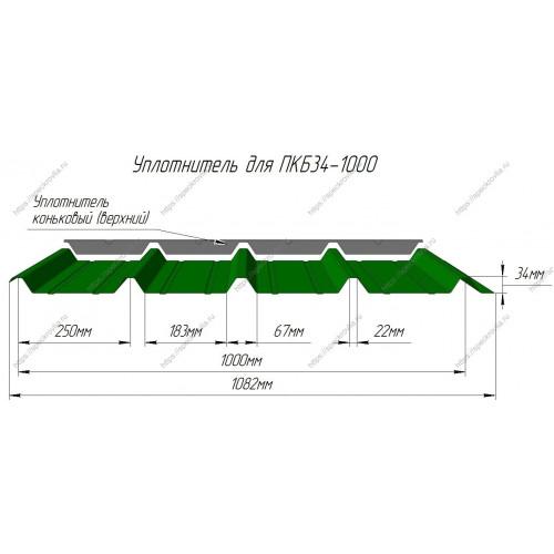 Уплотнитель для сэндвич-панелей НП 32 (или ПКБ34) верхний